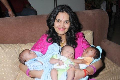 Geetha Chopra and her triplets
